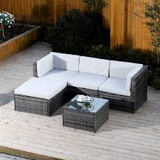 corner furniture piece. 5 piece modular rattan corner sofa set in dark mixed grey with light cushions furniture
