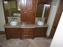 gorgeous bathroom vanities with tops grey granite and two white unique washbasin and black iron taps also great two mirror as well as four drawers and four