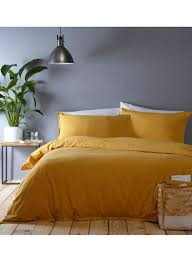 the collection washed cotton plain dye bedding set yellow king set
