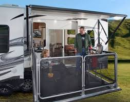 inimitable fifth wheel toy hauler with outside kitchen and roll up rv outdoor kitchen