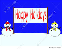 Holidays Snowman Snowmen With Happy Holidays Banner Picture