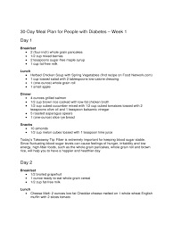 Diabetic Meal Planner Free 020 Day Meal Plan For People With Diabetes Template Ideas