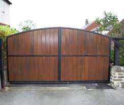Wrought Iron with Wood Driveway Gate w Cedar Pickets Fence