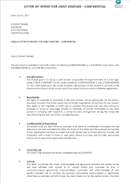 Joint Venture Letter Of Intent Template | Templates At ...