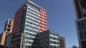 high tech modern architecture buildings. Waterloo, Ontario, Canada June 2017 Cladding Covering Residential Apartment And Condo Buildings - HD High Tech Modern Architecture E