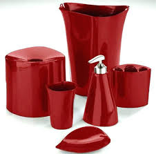 Red Bath Accessories Set Black Red Bathroom Accessories Red Bathroom