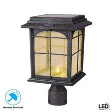 solar outdoor hand painted sanded iron post lantern with seedy glass shade