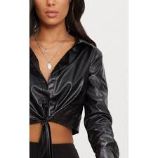 prettylittlething black faux leather tie front shirt tops black womens shirts clv9046