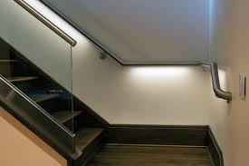 Stairway lighting Contemporary Lighted Handrails Are Stylish And Safe Lbc Lighting Stairway Lighting Stairway Lighting Fixtures From Lbc Lightingblog