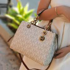 product details of authentic michael kors cynthia medium saffiano leather satchel monogram vanilla
