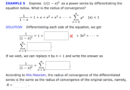 What Is Convergence Solved Express 1 1 X 2 As A Power Series By Differenti