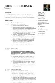 Production Supervisor Resume Samples Visualcv Resume Samples Database