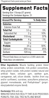 Whey Protein Chart Whey Hd Whey Protein 4 Lb