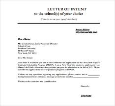 Letter Of Intention 8 School Letter Of Intent Templates Free Sample