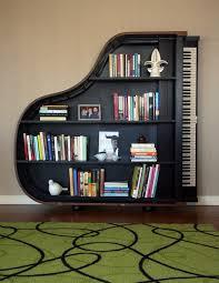 Grand Piano Shape Bookshelf Made Wood In Brown And Black