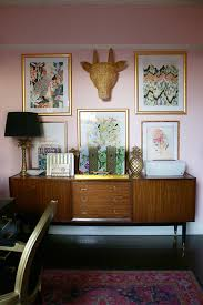gallery home office shelving. Boho Glam Office With Gallery Wall And Mid-century Modern Sideboard Home Shelving