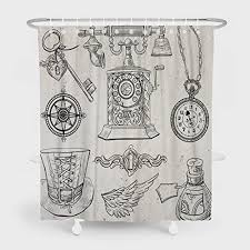 summor mildew resistant shower curtains sketches elements in steampunk style painting art bath curtain liner waterproof polyester fabric bathroom decor