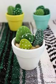 pebble and stone crafts hand painted mini cactus diy ideas using rocks stones