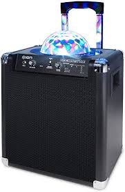 portable bluetooth speakers on wheels. ion audio block party live 50 watt portable bluetooth speaker system with lights, wheels speakers on u