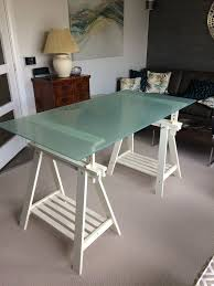 details about ikea glasholm finnvard glass top adjustable trestle table desk