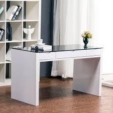 perfec white desk glass top