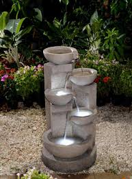 25 6 led lighted multi tier faded faux stone outdoor patio garden water fountain com