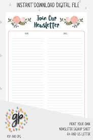Email Sign Up Sheet Template Adorable Newsletter Sign Up Sheet Email Subscription List Handmade Etsy