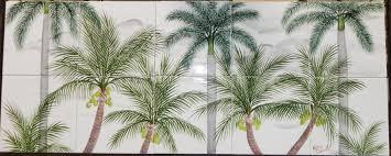 ceramic tile art tree.  Tree Coconut And Royal Palm Tree Ceramic Tile Mural Backsplash In Art D