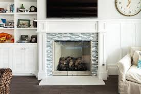 blue and gray glass tile fireplace surround view full size