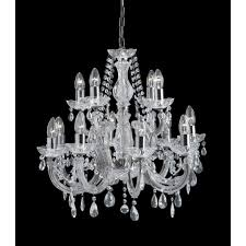 marie therese 12 light crystal glass chandelier with acrylic arms in polished chrome finish
