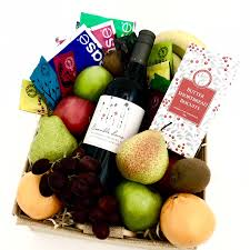 morning tea with wine fresh fruit gift basket perth