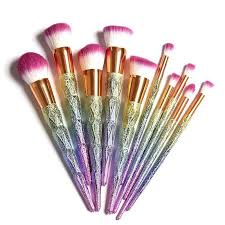 unicorn brush set. rainbow glitter unicorn brush kuas makeup soft set sepuluh pcs unicorn brush set