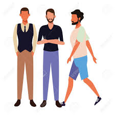 Graphic Design For Men Casual People Men Cartoon Vector Illustration Graphic Design