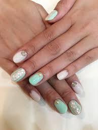 シェルエメラルドグリーン夏 Nail In 2019 Nails Beauty