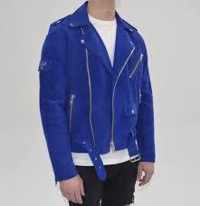 royal blue suede biker