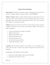 financial analysis example example of financial ratio analysis company report