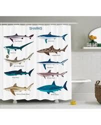 fish shower curtain cartoon shark types wild print for bathroom waterproof and mildew resistant set hooks