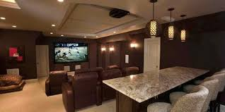 home theater lighting including pendants over bar and wall sconces also recessed lights
