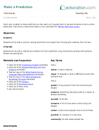 Making Predictions Lesson   Lesson Plan   Education.com