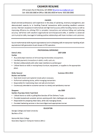 Cashier Resume Description Berathen Com