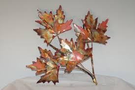 leaves antiqued metal tree image of wall art decor sculpture