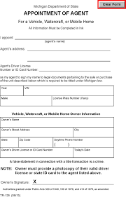 appointment of agent form download michigan power of attorney for a vehicle watercraft or