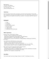 Resume Templates: Automotive Service Advisor