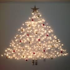 Christmas Tree Design On Wall With Lights Wall Christmas Tree Command Hooks And Lights Decor Ideas