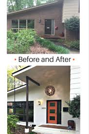 modern front door orange. Before And After Mid Century Modern Entryway With Exterior Painted Brick In Ballet White, Orange Front Door Willow Trim Colour By Benjamin Moore. .