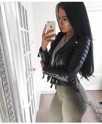 jacket leather jacket black jacket winter jacket black leather jacket biker jacket long sleeves olive green