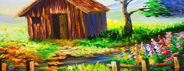 acrylic landscape painting lesson barn house with river and flowering plants painting for beginner
