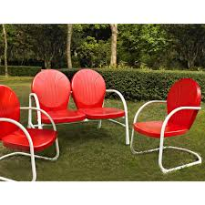 crosley griffith red 3 piece metal conversation seating set