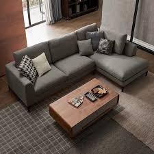contemporary style 2 piece l shape gray linen sectional sofa with chaise solid wood leg poss pillow included right hand facing