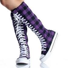 converse knee high boots. purple canvas skate lace up punk sneaker flat womens knee high boots converse e